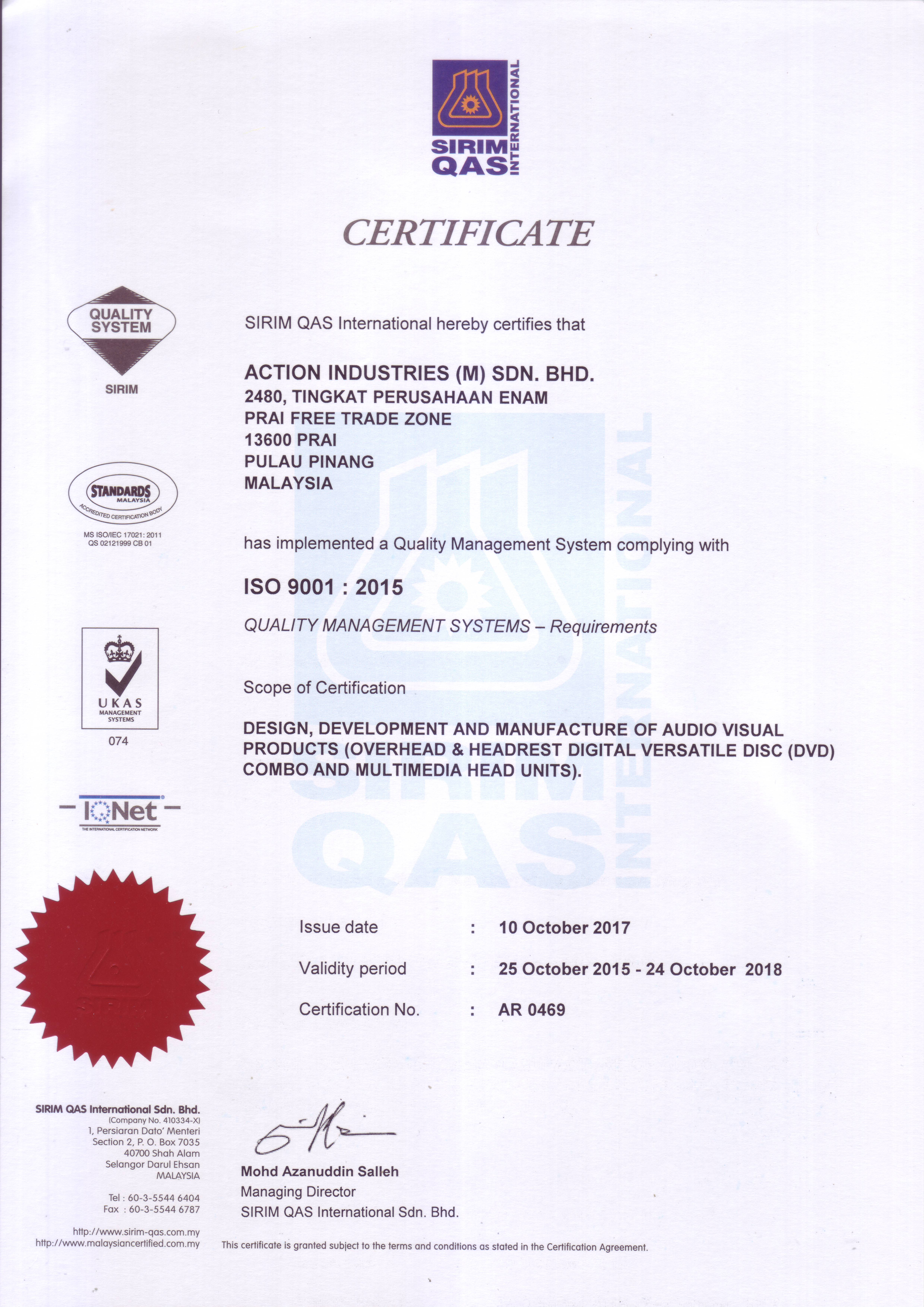Quality certification sirim iso 90012015 1betcityfo Image collections